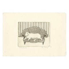Vintage Etching of a Dog on a Sofa by Frings, 'circa 1980'