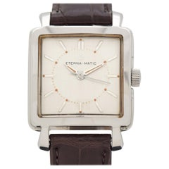 Vintage Eterna Square-Shaped Stainless Steel Watch, 1952