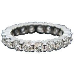 Vintage Eternity 2 Carat Diamond 18 Karat White Gold Band Ring
