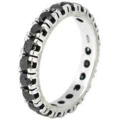 Vintage Eternity Black Diamond Ring, 18 Karat White Gold