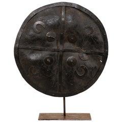 Vintage Ethiopian Leather Shield on Custom Iron Stand
