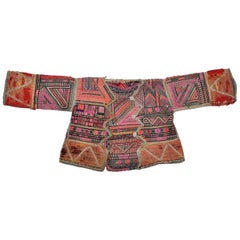 Vintage Ethnic Embroidered Baby Jacket from Nepal Pink Green Red