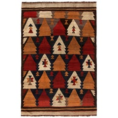 Vintage Etno Brown, Red and Yellow Handmade Wool Kilim Rug