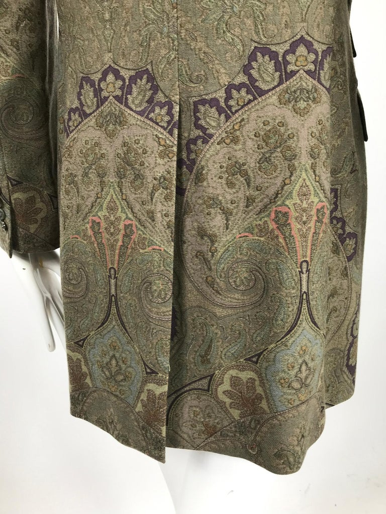 Vintage Etro Paisley Wool Riding Jacket 1990s For Sale 6