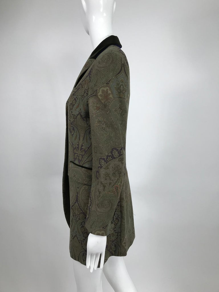 Black Vintage Etro Paisley Wool Riding Jacket 1990s For Sale