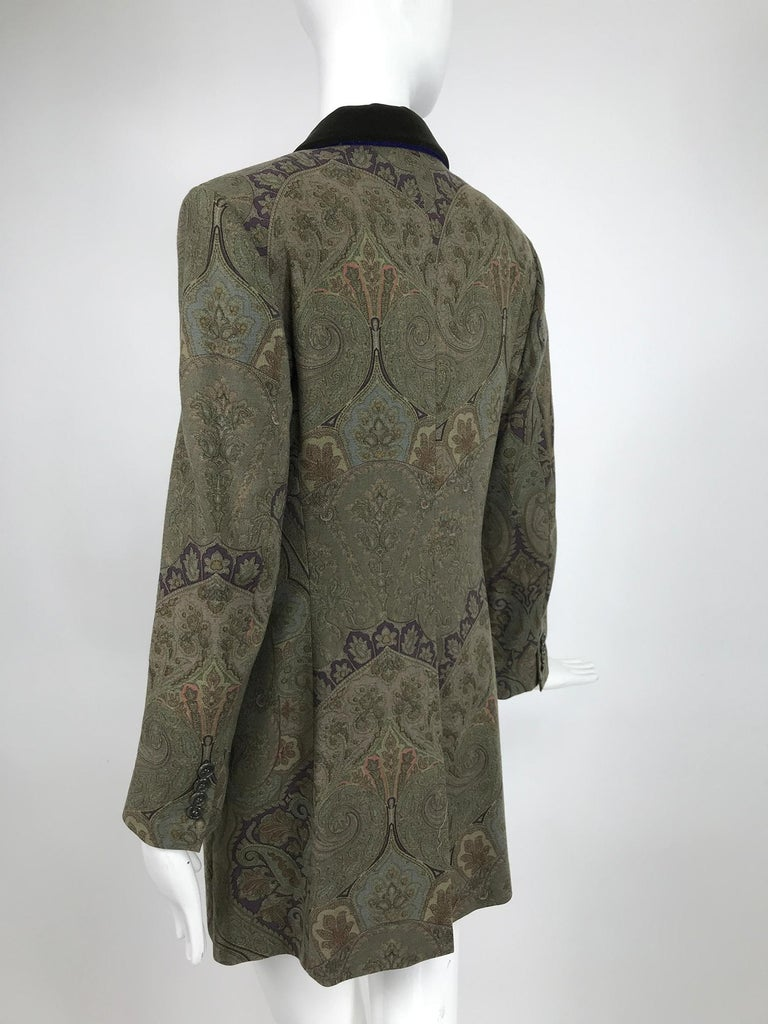 Vintage Etro Paisley Wool Riding Jacket 1990s In Excellent Condition For Sale In West Palm Beach, FL