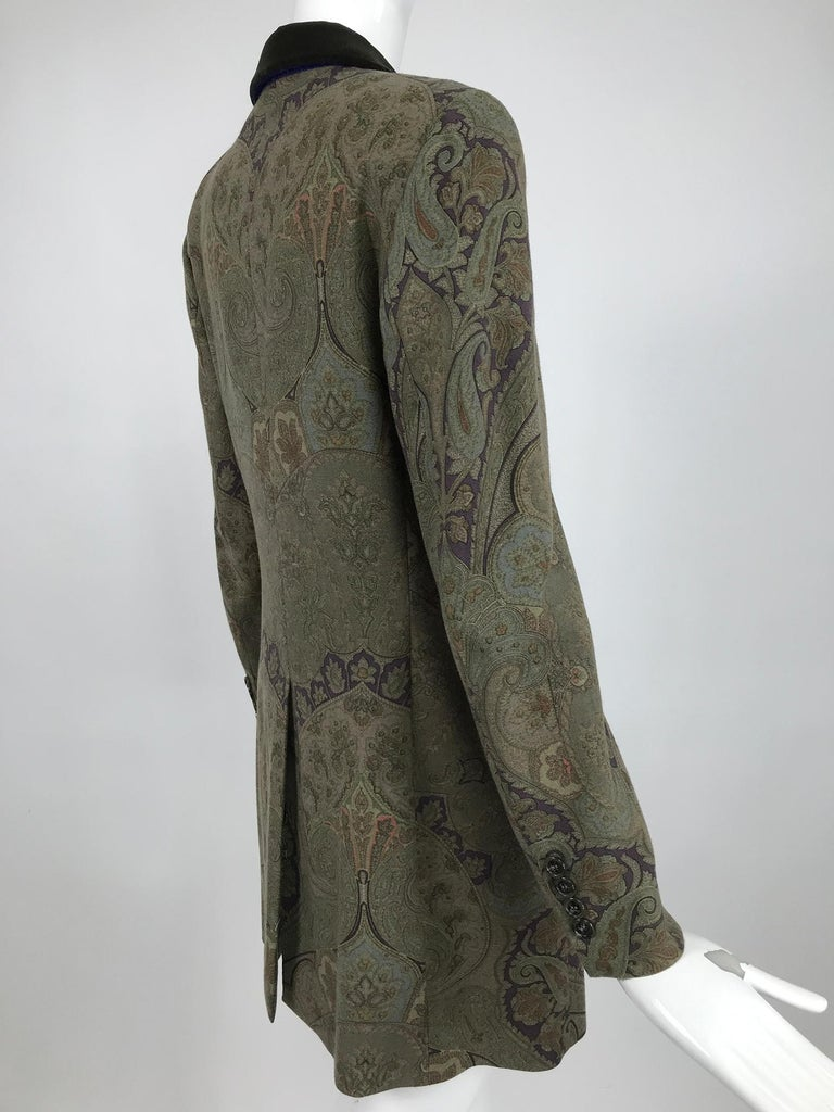 Vintage Etro Paisley Wool Riding Jacket 1990s For Sale 1