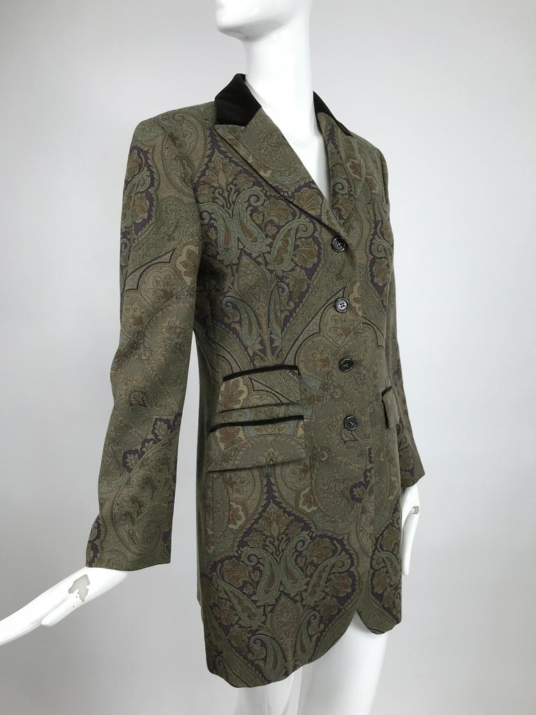 Vintage Etro Paisley Wool Riding Jacket 1990s For Sale 2