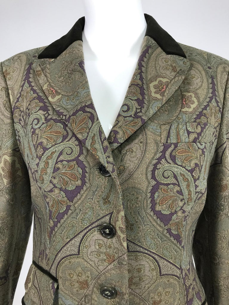 Vintage Etro Paisley Wool Riding Jacket 1990s For Sale 3