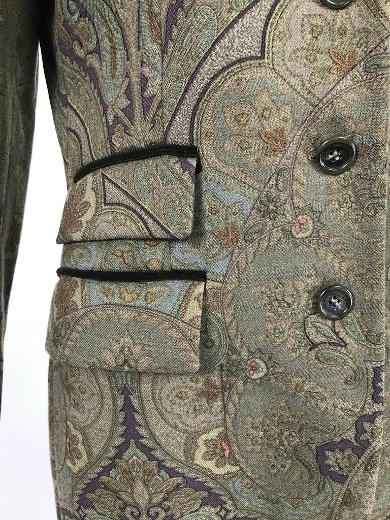 Vintage Etro Paisley Wool Riding Jacket 1990s For Sale 4