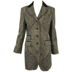 Vintage Etro Paisley Wool Riding Jacket 1990s