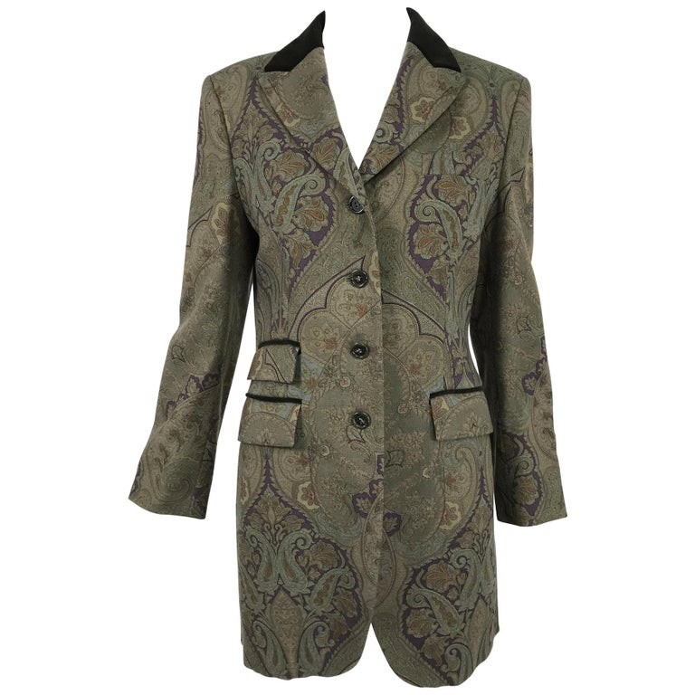 Vintage Etro Paisley Wool Riding Jacket 1990s For Sale