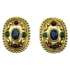 Vintage Etruscan Gold Gem Earrings 1980S