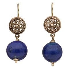 Vintage Etruscan Revival Lapis Lazuli Swing Earrings, circa 1950