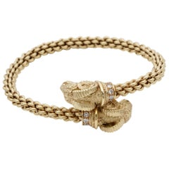 Vintage Etruscan Revival Ram Head Diamond Massive 18 Karat Gold