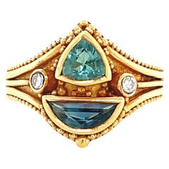 Vintage Etruscan Style Diamond Sapphire Gold Ring