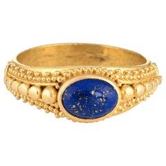 Vintage Etruscan Style Lapis Lazuli Ring 22 Karat Yellow Gold High Karat