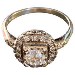 Vintage Euro Cut Diamond 14 Karat White Gold Ring - Size 7 1/4