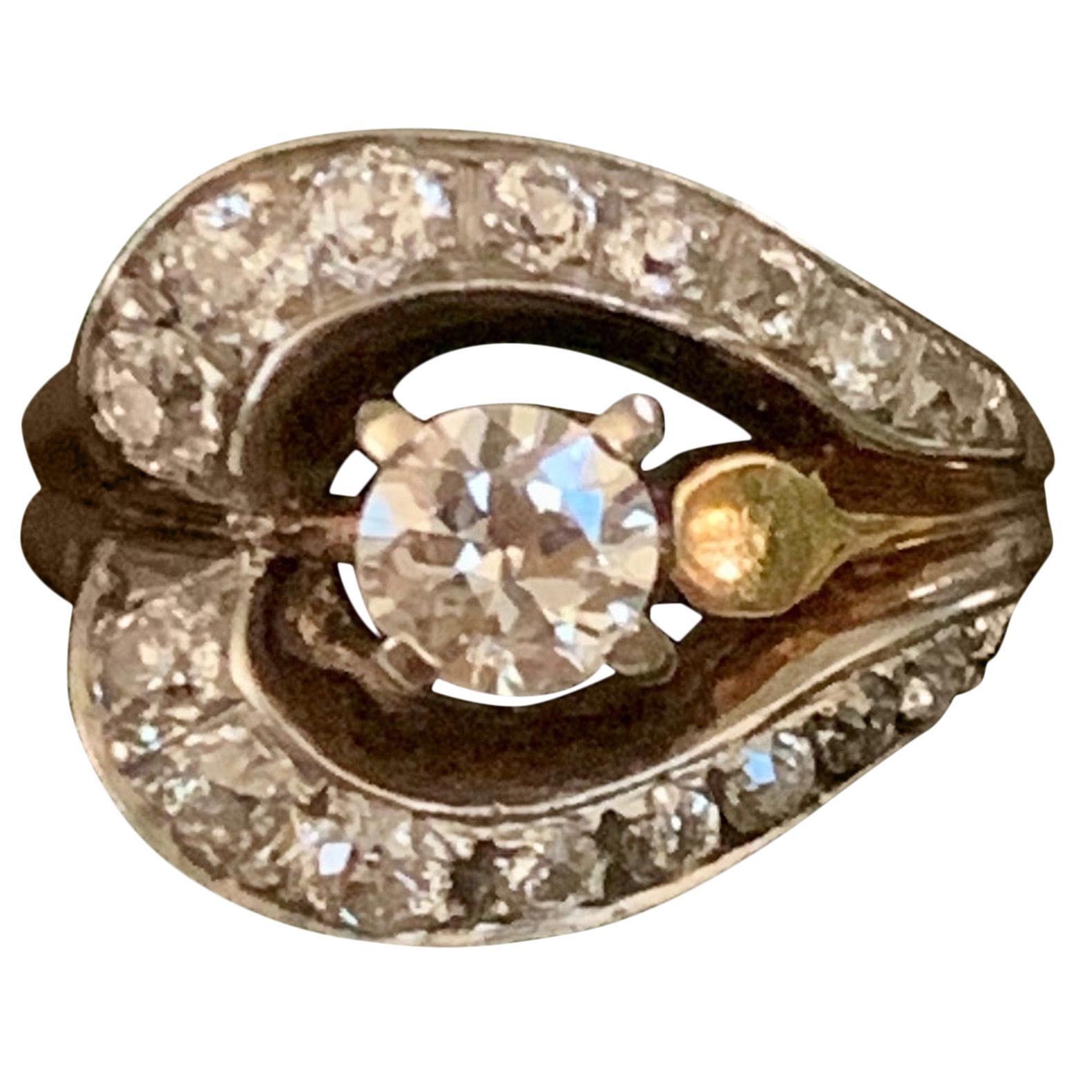 Vintage Euro Cut Diamond 14 Karat Yellow Gold Fashion Ring - Size 7