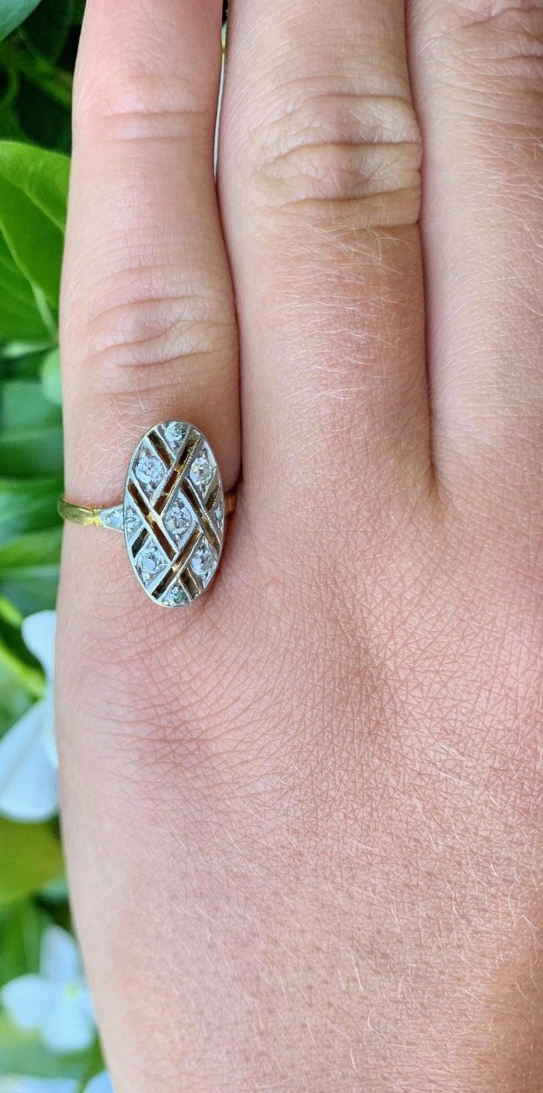 Vintage Euro Cut Diamonds Platinum Top 18 Karat Yellow Gold Ring For Sale 5