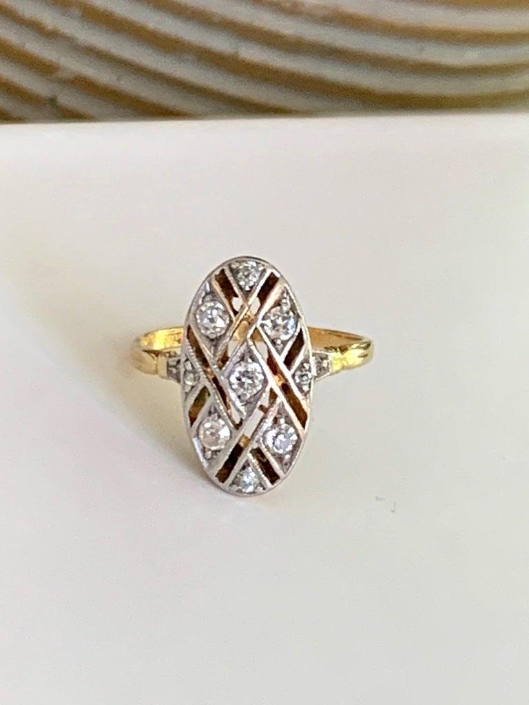 Old European Cut Vintage Euro Cut Diamonds Platinum Top 18 Karat Yellow Gold Ring For Sale