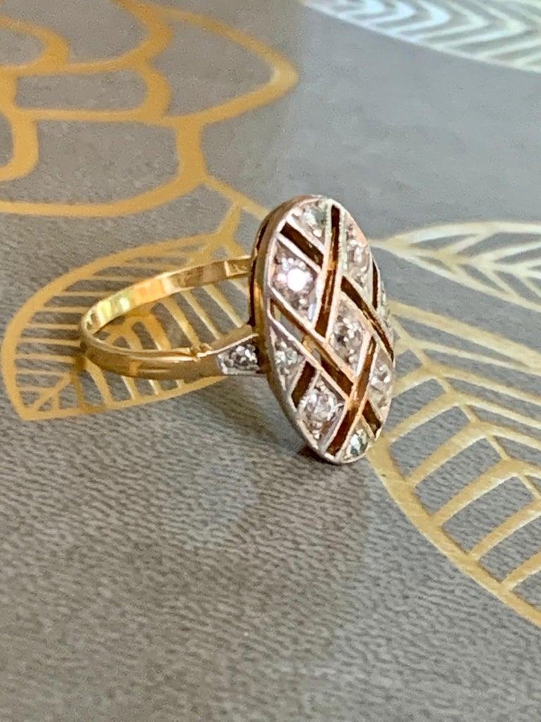 Vintage Euro Cut Diamonds Platinum Top 18 Karat Yellow Gold Ring For Sale 2