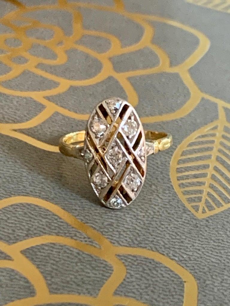 Vintage Euro Cut Diamonds Platinum Top 18 Karat Yellow Gold Ring For Sale 3