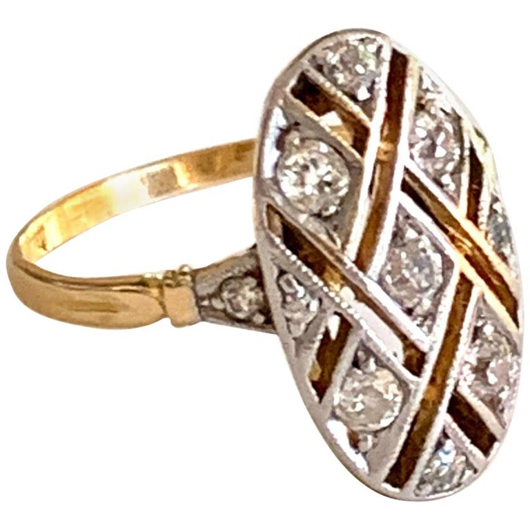 Vintage Euro Cut Diamonds Platinum Top 18 Karat Yellow Gold Ring For Sale