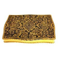 Vintage European Artisan Graver Gold Box Keepsake 18 Karat