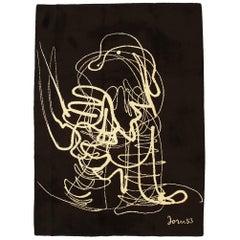 Vintage European Beige&Black Wool Carpet by Asger Oluf Jorn, 1950-1970