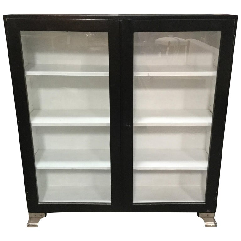 Vintage European Black and White Cabinet  For Sale