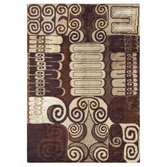 Vintage European Carpet with Modern Design in Brown, Beige, and Tan