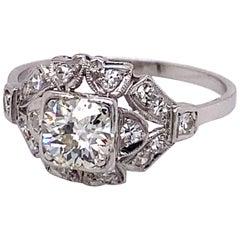 Vintage European Cut Diamond in Platinum Art Deco Ring .77 Carat