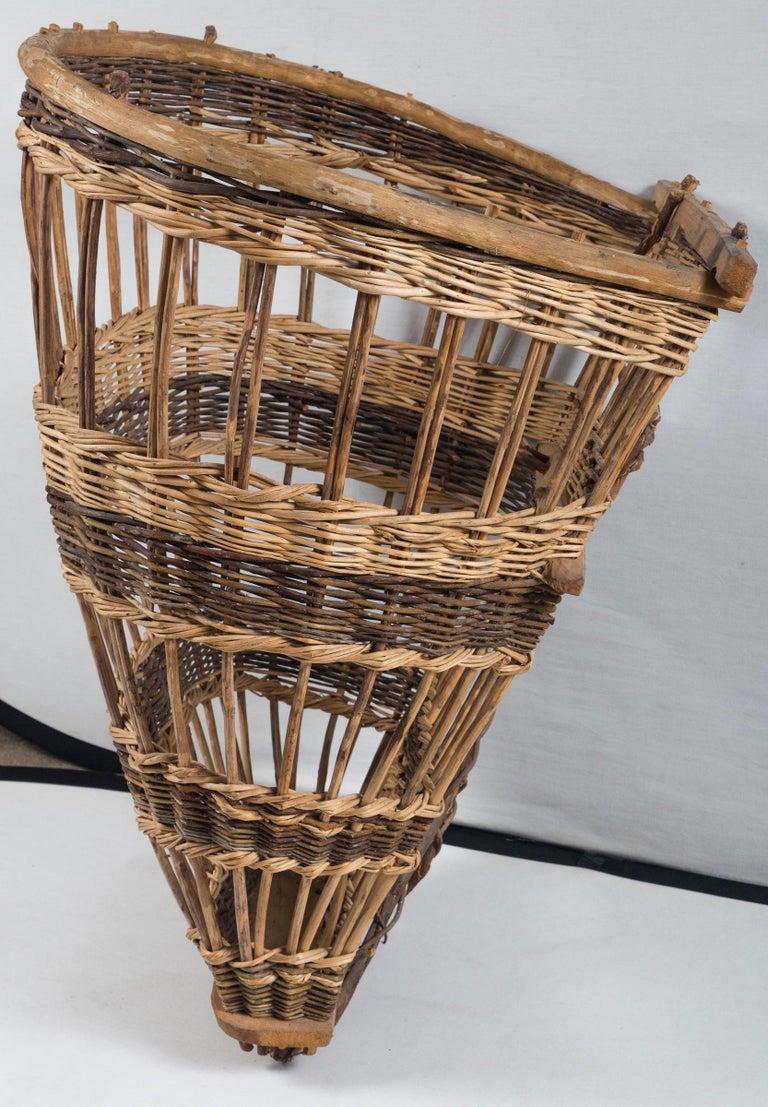 Wicker Vintage European Field Basket, 20th Century For Sale