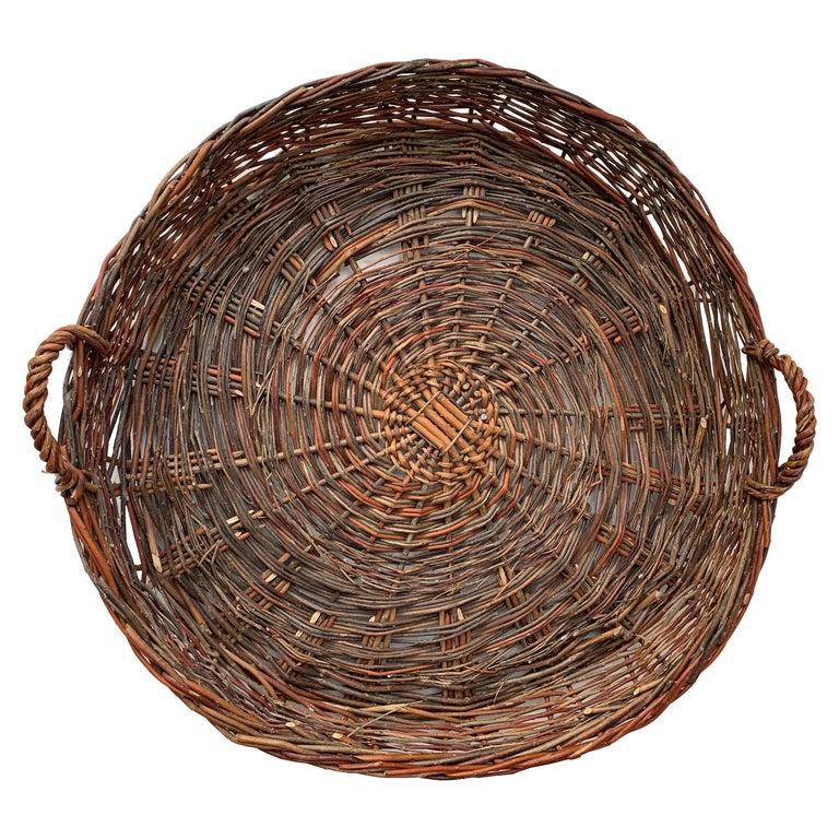 Vintage European Flat Basket For Sale