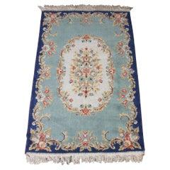 Vintage European French Aubusson Wool Area Rug Mat Carpet Blue Roses