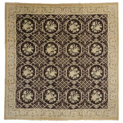Vintage European Garden Rug with Renaissance Style, Square Area Rug