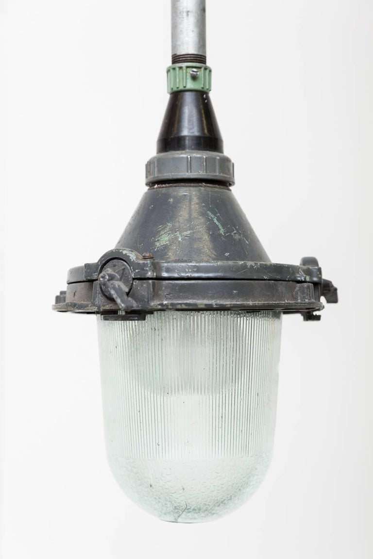 Enameled Vintage European Glass and Metal Factory Lamps For Sale