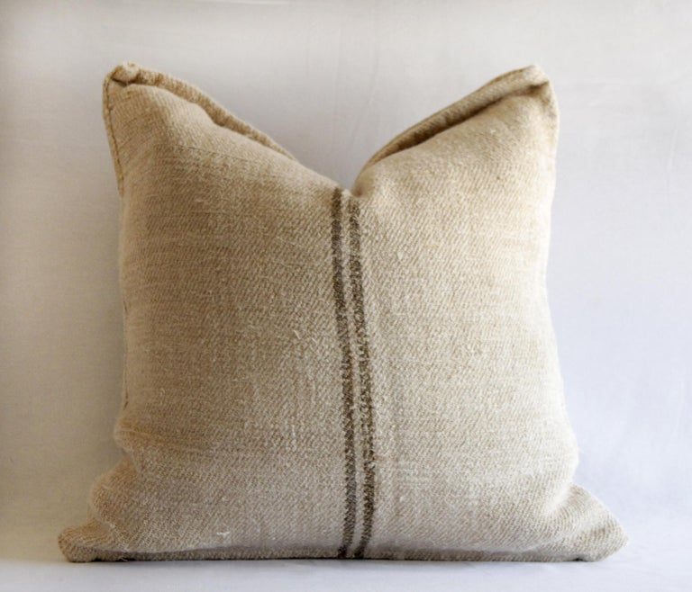 Vintage European grain sack pillows with dark brown stripe  Measures: 21