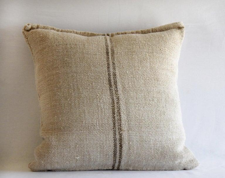Rustic Vintage European Grain Sack Pillows with Dark Brown Stripe For Sale