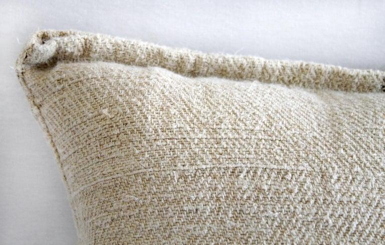 Vintage European Grain Sack Pillows with Dark Brown Stripe In Good Condition For Sale In Brea, CA