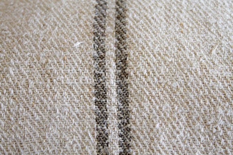 20th Century Vintage European Grain Sack Pillows with Dark Brown Stripe For Sale