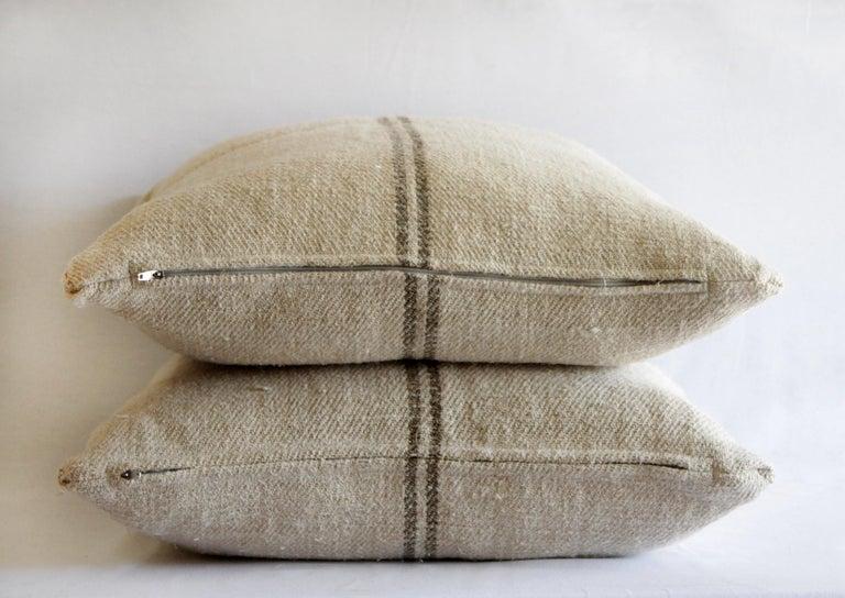 Cotton Vintage European Grain Sack Pillows with Dark Brown Stripe For Sale