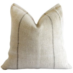 Vintage European Grain Sack Pillows with Dark Brown Stripe