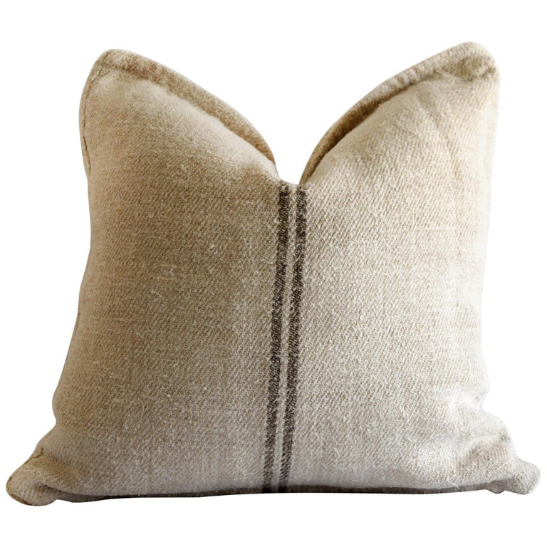 Vintage European Grain Sack Pillows with Dark Brown Stripe For Sale