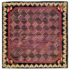 Vintage European Hooked Pink, Brown and Black Wool Rug