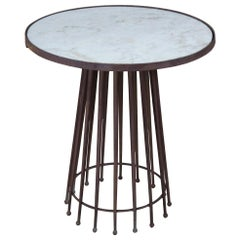 Vintage European Industrial Cast Iron Round Pedestal Marble-Top Needle Table