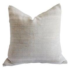 Vintage European Linen Stripe Textile Pillow
