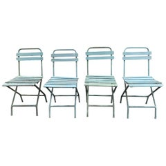 Vintage European Metal Dining Chairs 'Set of 4'