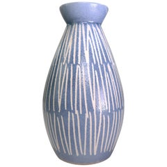 Vintage European Mid-Century Modern Light Blue and White Ceramic Vase, 1960s